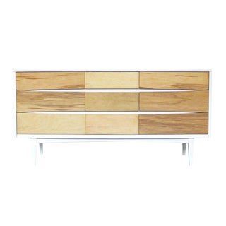 1960s Mid-Century Modern White Mixed Media Credenza For Sale