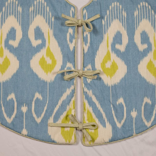 Contemporary Blue and Green Ikat Tree Skirt For Sale - Image 6 of 8