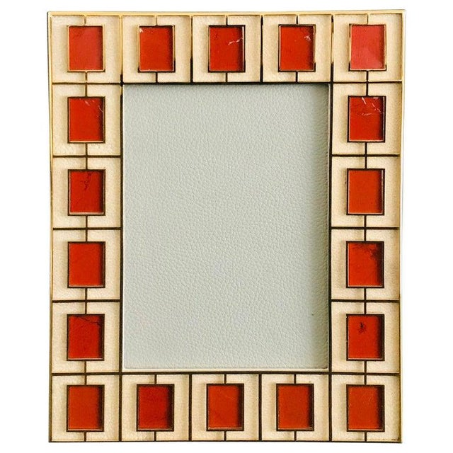 Metal Shagreen With Red Jasper Photo Frame by Fabio Ltd For Sale - Image 7 of 7