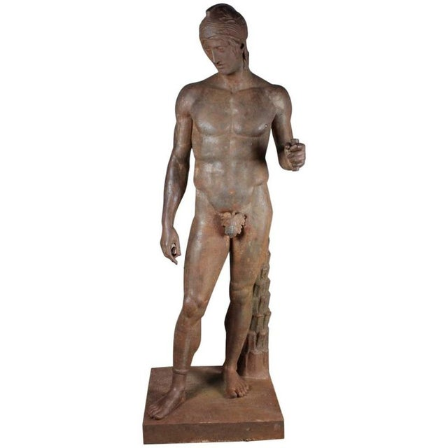 Monumental French Iron Statue of a Classical Greek or Roman Male Nude, 19th Century For Sale In Boston - Image 6 of 6