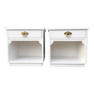 Mid Century Freshly Lacquered White and Polished Brass Nightstands by American of Martinsville