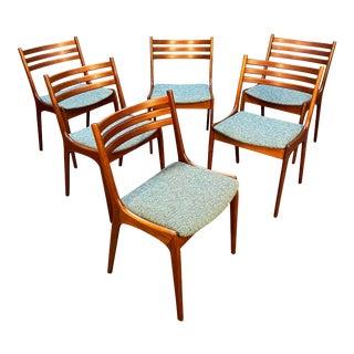 Set of Six Vintage Danish Mid Century Modern Teak Dining Chairs by Korup Stolefabrik For Sale