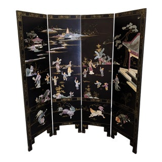 Chinoiserie Black Lacquer Carved Stone 4 Panel Screen Room Divider For Sale