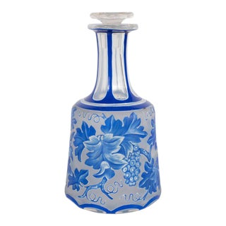 French Art Deco Decanter in Ancient Blue with Grape Vine and Leaf Motif