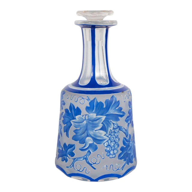 French Art Deco Decanter in Ancient Blue with Grape Vine and Leaf Motif For Sale