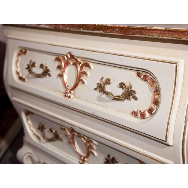 French Louis XV Style Bombe Nightstands - A Pair For Sale - Image 5 of 7