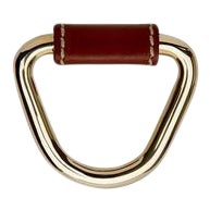 "Fallbrook 1 3/4"" Chocolate Leather Pull in Nickel For Sale"