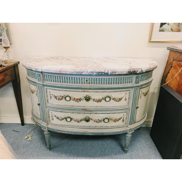 19th Century French Marble Top Demilune Chest For Sale - Image 10 of 10