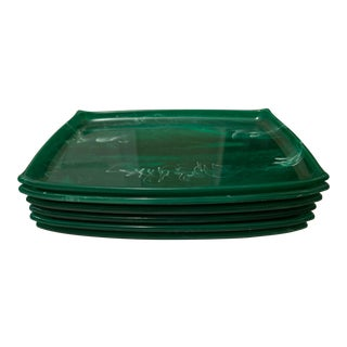 Vintage Green Marbleized Stacking Snack Trays - Set of 6 For Sale