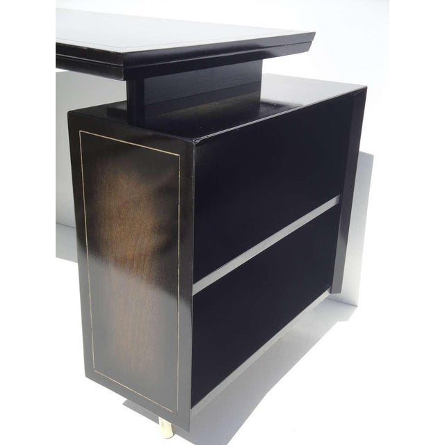 Brass 1960s Mid Century Modern Curved Partner Desk For Sale - Image 7 of 11