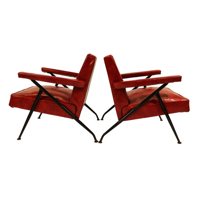 Viko Baumritter Red Lounge Chairs - a Pair - Image 5 of 10