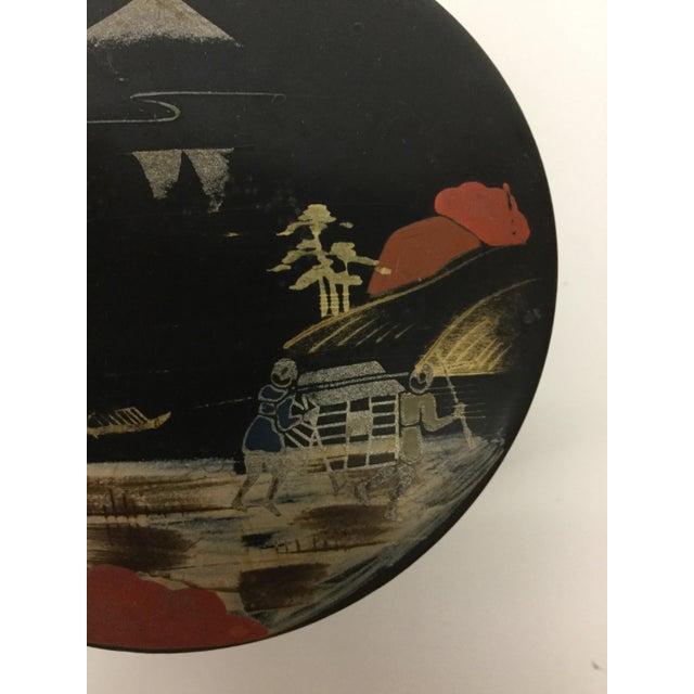 Black Vintage Mid-Century Modern Lacquer Coaster Set - Set of 5 For Sale - Image 8 of 11