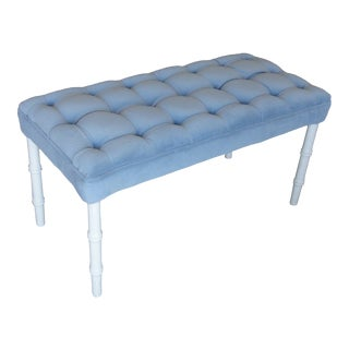 Palm Beach Faux Bamboo Tufted Bench For Sale