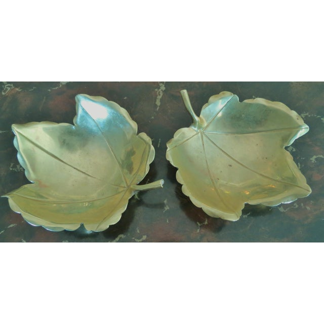 Traditional Handmade Brass Maple Leaf Serving Dishes - A Pair For Sale - Image 3 of 6