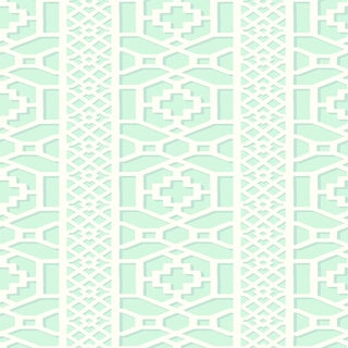 Sample - Schumacher Zanzibar Trellis Wallpaper in Winter Mint For Sale