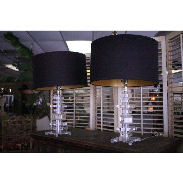 Vintage Lucite Table Lamps A Pair