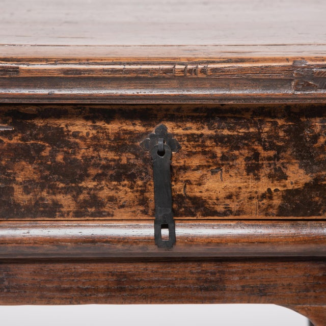 Metal 19th Century Chinese Two Drawer Provincial Table For Sale - Image 7 of 8