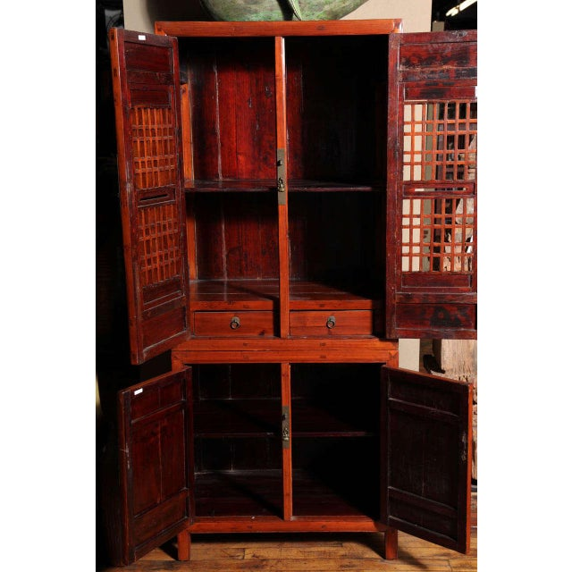 Red Tall 19th Century Chinese Kitchen Cabinet With Fretwork Upper Doors For Sale - Image 8 of 11