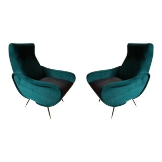 Marco Zanuso Style Green Velvet Armchairs - A Pair