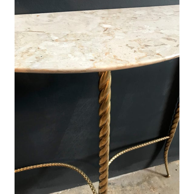 1940s Console Table With Marble Top and Brass Legs, Italy 1940s For Sale - Image 5 of 13