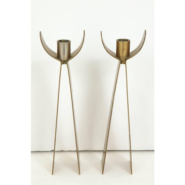 Mid-Century Modern Pair of Danish Brass Candleholders For Sale - Image 3 of 6