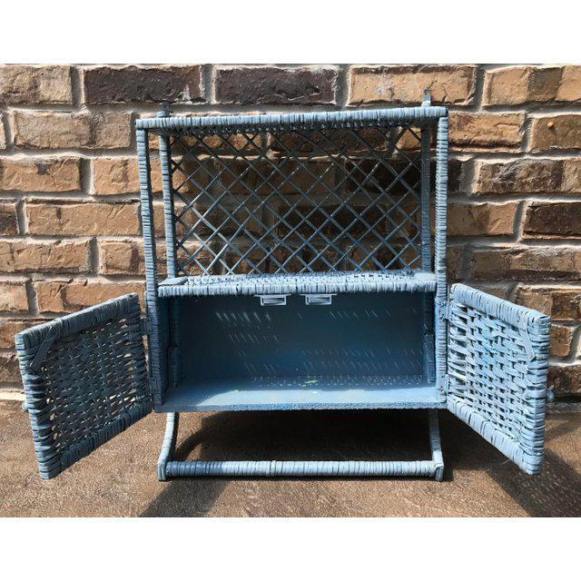 Vintage Blue Wicker Wall Cabinet With Towel Rack - Image 2 of 4