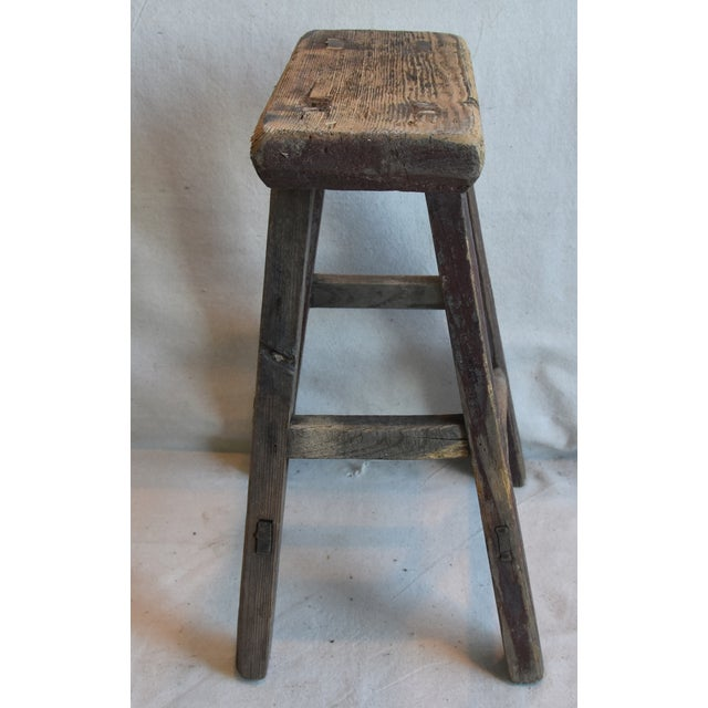 Rustic Primitive Country Wood Farmhouse Stool For Sale - Image 4 of 9