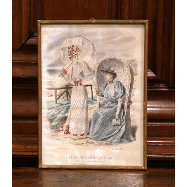 """19th Century French Color Women Fashion Prints Framed Dated 1890 """"Set of Five"""" For Sale - Image 9 of 13"""