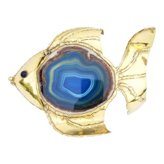 "Isabelle & Robert Faure ""Fish"" Agate and Brass Lamp For Sale"