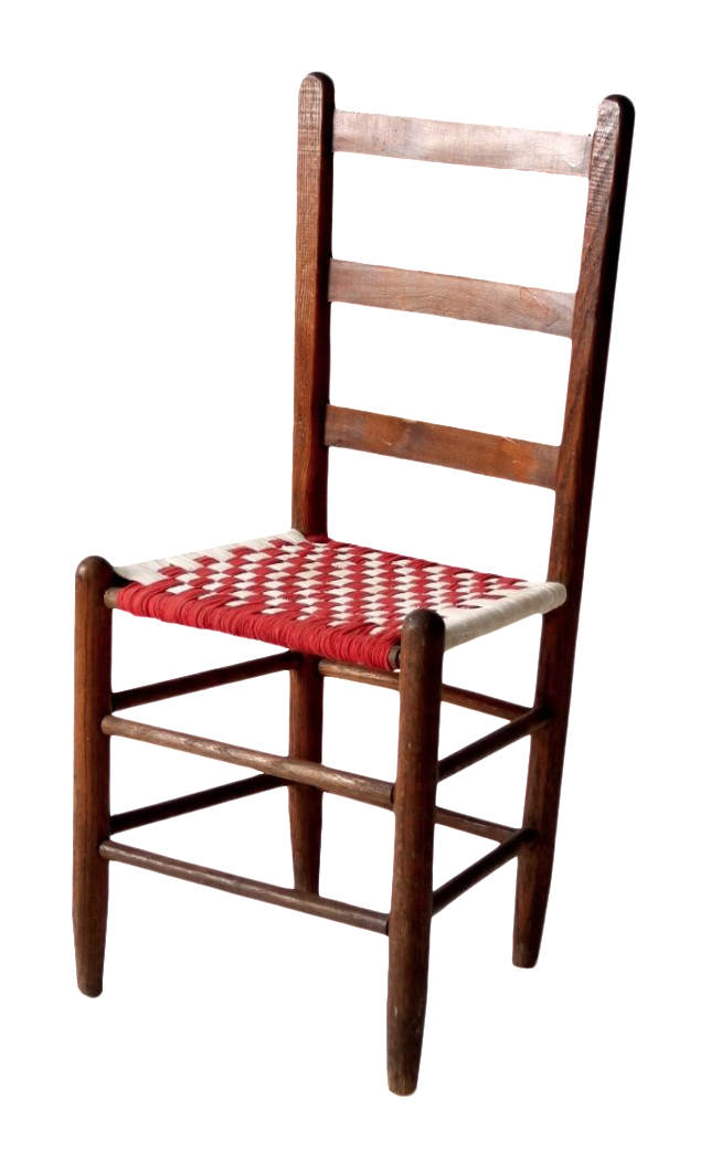 Ladder Back Chair With Woven Fabric Seat
