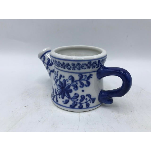 Blue and White Porcelain Miniature Watering Can Sculpture For Sale - Image 4 of 7