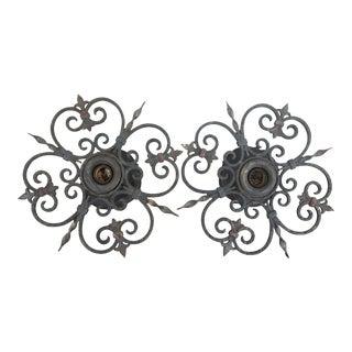 Antique French Cast Iron Scroll Fleur De Lis Medallion Pendant Ceiling Lights - a Pair For Sale