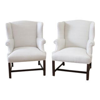 Mid 20th Century Vintage Wing Chairs in Natural Linen - a Pair For Sale