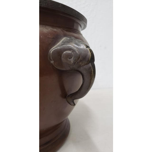 Early 20th Century Chinese Raised Relief Bronze Planter For Sale In San Francisco - Image 6 of 9