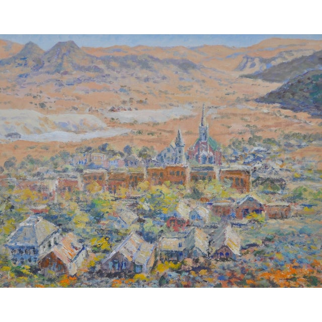 Rustic Western Mountain Village Oil Painting For Sale - Image 3 of 6