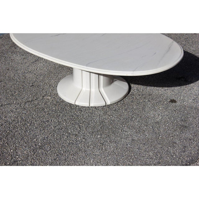 White French Modern White Resin Oval Coffee Table For Sale - Image 8 of 13
