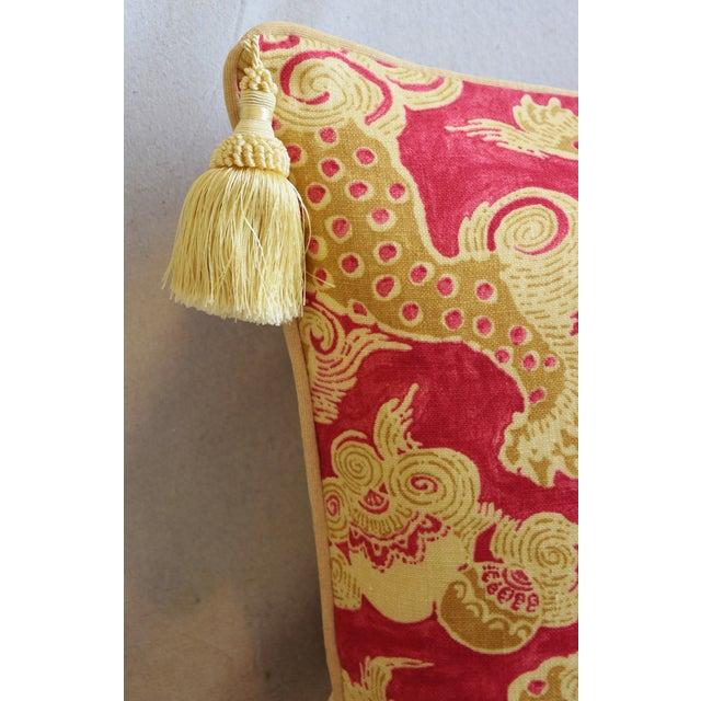 "Early 21st Century Chinoiserie Dragon Tasseled Feather/Down Pillows 26"" X 18"" - Pair For Sale - Image 5 of 13"