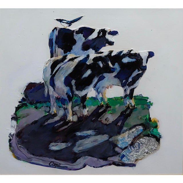 Americana Marianne Cone - Black & White 3 Cows & a Magpie Bird-Painting For Sale - Image 3 of 9