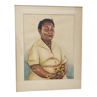 African American Woman Watercolor Portrait Painting by Anna Claire Henderson C.1955 For Sale
