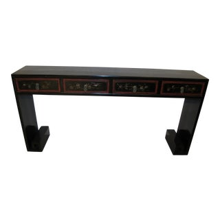 Chinese Elmwood Lacquered Greek Key Console Table For Sale