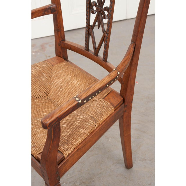 Metal French 19th Century Louis XVI Style Rush-Seat Armchair For Sale - Image 7 of 9