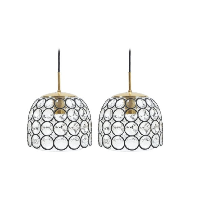 Pair of Large Midcentury Iron and Glass Pendant Lamps by Limburg For Sale - Image 6 of 6