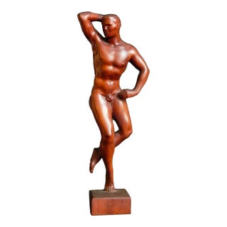 """Mid 20th Century """"Artist's Model"""" Figurative Carved Mahogany Sculpture by Raymond Turner For Sale"""