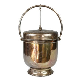 Vintage Silver Plated Ice Bucket With Hidden Compartment Leonard Insulated For Sale