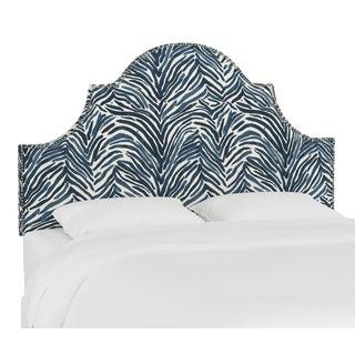 Queen Headboard, Washed Zebra Blue For Sale