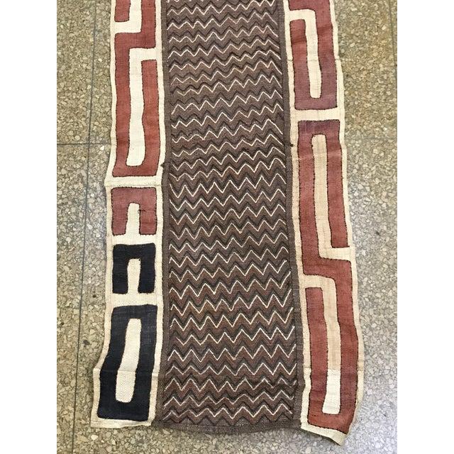 "African Tribal Art Handwoven Kuba Cloth Panel from DRC - 16.5"" x 40.5"" - Image 6 of 6"