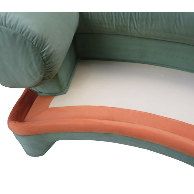 1970s Contemporary Circular Curved Ultrasuede Sectional Sofa For Sale - Image 10 of 12