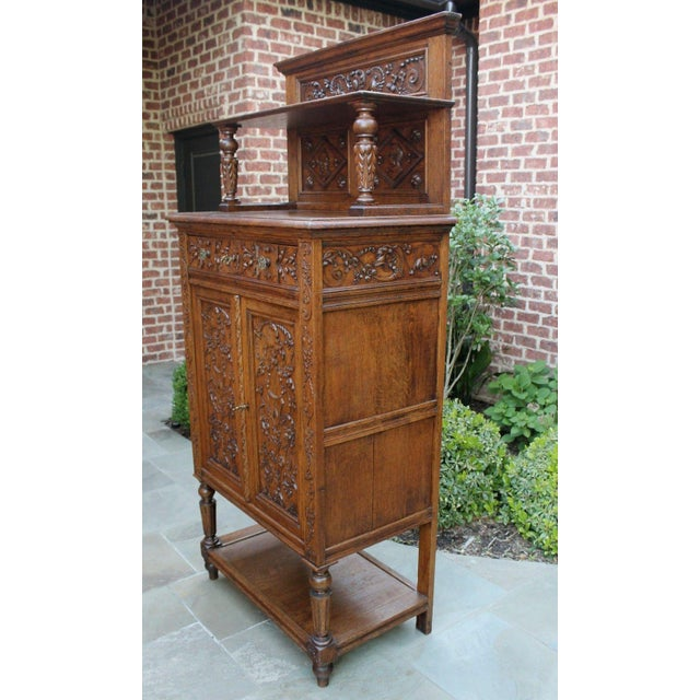 Late 19th Century Antique French Oak 19th Century Renaissance Revival Gothic Vestry Sacristy Wine Altar Cabinet Bookcase For Sale - Image 5 of 13
