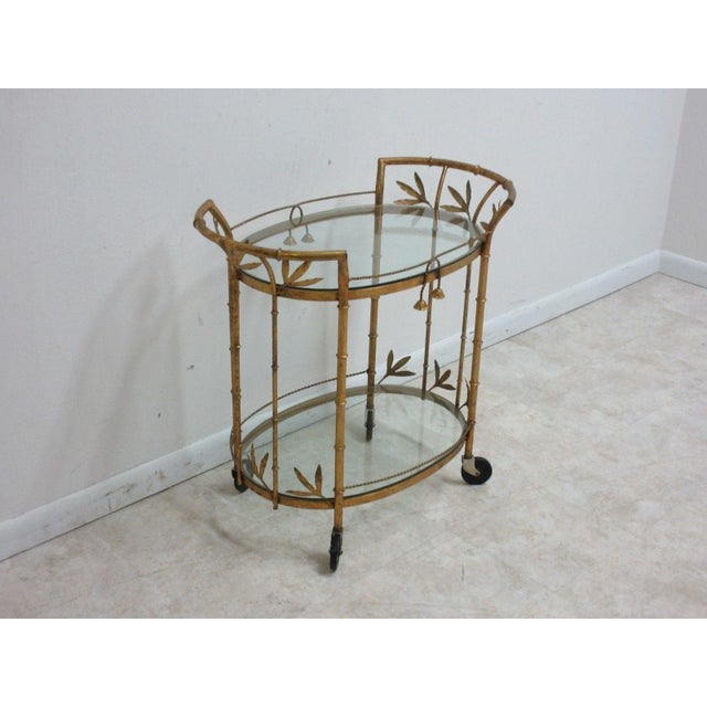 French Regency Faux Bamboo Tea Cart For Sale - Image 9 of 10