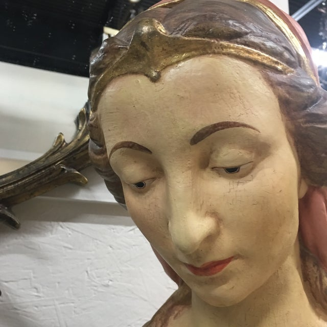Hand Painted Paper Mache Female Bust For Sale - Image 9 of 11